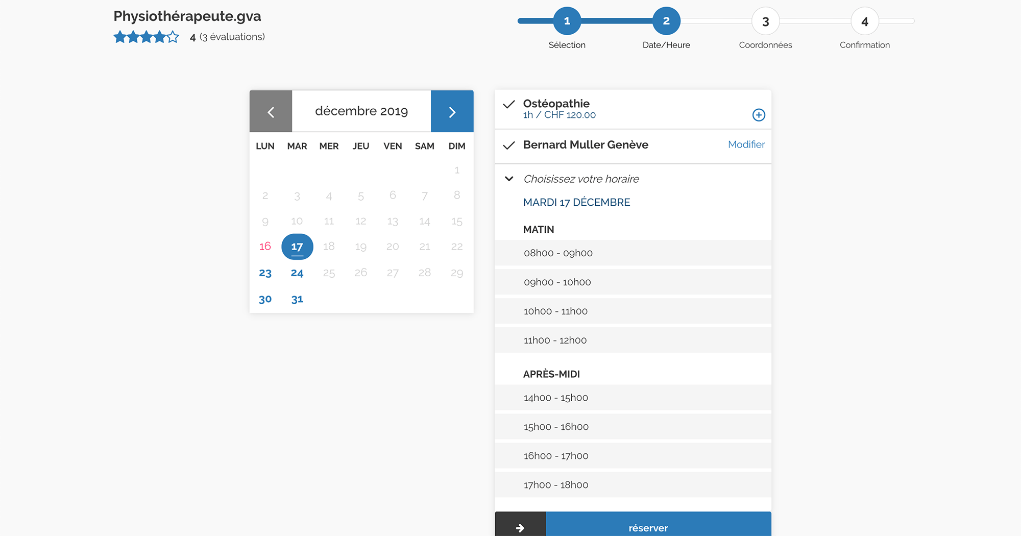 Features 3 reservation selection date